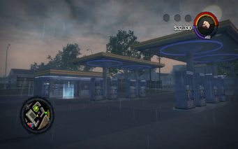 Quinbecca Gas Station exterior in Saints Row 2