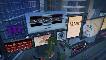 Foreign Power Downtown billboard with phone number