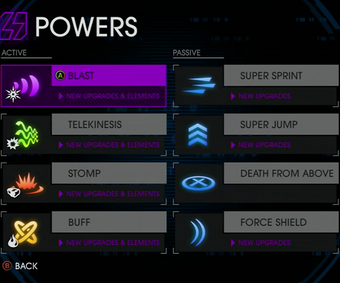 Powers menu