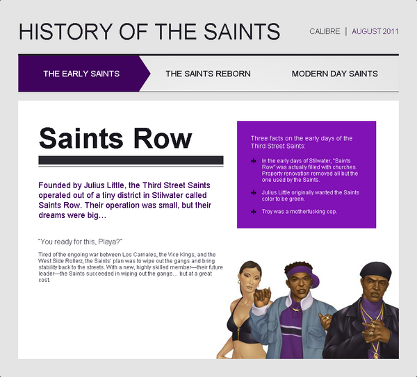 Saints Row website - History - The Early Saints