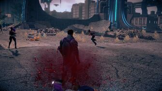 Combat in Saints Row IV - Super gorilla press back kick head stomp - end