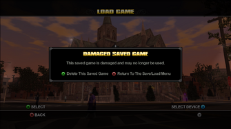 Load game in Saints Row - Damaged Savegame message