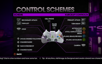 Saints Row The Third - Main Menu - Options - Controls - Gamepad - Control Schemes - Aircraft Controls II