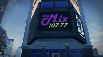 The Mix 107.77 large sign on building