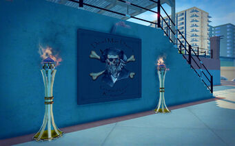 Centennial Beach in Saints Row 2 - Dead Man Dave's Grog and Gruel Restaurant sign