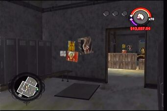 Donnie's garage in Saints Row - interior locker room