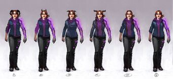 Kinzie Kensington Gat out of Hell Concept Art - 6 versions