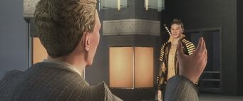 Dane Vogel talking to Shogo Akuji in the Saving Face cutscene