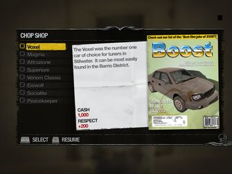 Voxel - Truckyard Chop Shop list in Saints Row 2