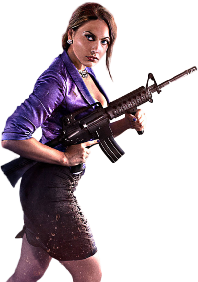 Shaundi carrying an M16 in Saints Row IV promo