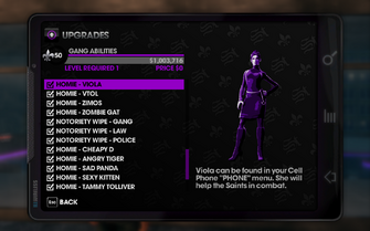 Saints Row The Third - Viola in Upgrades menu