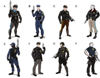 Steelport Police concept art - 8 alternate outfits