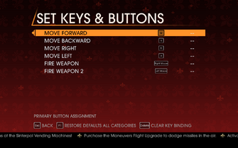 Saints Row Gat out of Hell - Main Menu - Options - Controls - Set Keys & Buttons - Tank