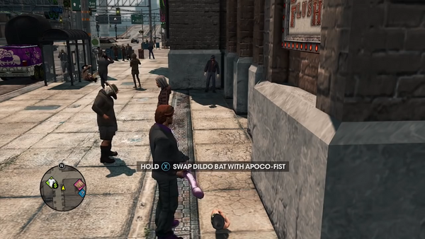 Swap Dildo Bat with Apoco-Fist prompt in the Saints Row - The Third Open World Gameplay trailer