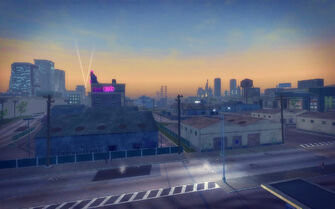 Truck Yard in Saints Row 2 - aerial view