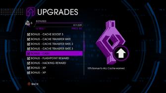 Upgrades menu in Saints Row IV after unlockitall - Bonus - Cash