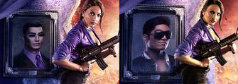 Comparison of Gat portraits in Saints Row IV artwork