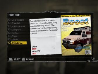 Ambulance - Suburbs Chop Shop list in Saints Row 2