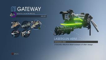 Lasergun Arm in Weapon Cache