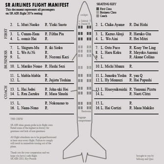 Orange Threat Level - passenger manifest