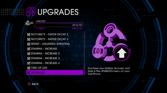 Upgrades menu in Saints Row IV after unlockitall - Upgrades