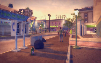 Cecil Park in Saints Row 2 - payphones and trash