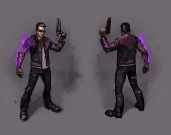 Johnny Gat Concept Art - Gat out of Hell - purple demon arm