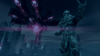 Saints Row IV Main Menu background - Zinyak statue