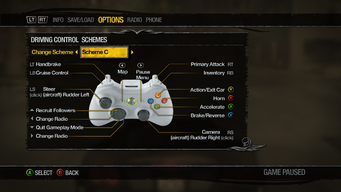 Saints Row 2 Menu - Options - Controls - Driving Control Schemes - Scheme C