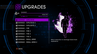 Upgrades menu in Saints Row IV - Page 1 of Damage