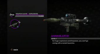 Annihilator in the Weapon Cache in Saints Row The Third