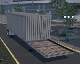 Flatbed trailer with Boxcar