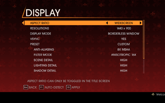 Saints Row Gat out of Hell - Main Menu - Options - Display