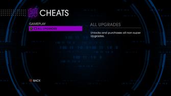 Gameplay cheats menu in Saints Row IV