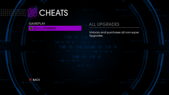 Gameplay cheats menu in Saints Row IV