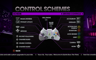 Saints Row The Third - Main Menu - Options - Controls - Gamepad - Control Schemes - Driving Controls