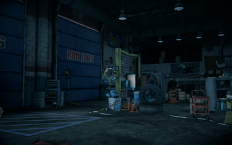Saints Row IV - Rim Jobs interior - garage
