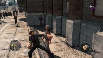 Apoca-Fist in mid-swing in the Saints Row - The Third Open World Gameplay trailer