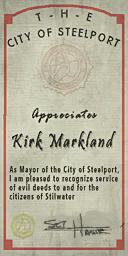 Credits - Mayor Certificate - Kirk Markland