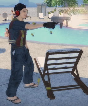 Richie firing a weapon in Saints Row 2