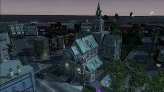 Saints Row demo loading screen - Church from above