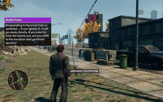 Survival cellphone tutorial in Saints Row The Third