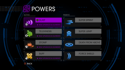 SRIV Powers menu