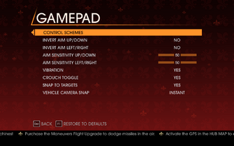 Saints Row Gat out of Hell - Main Menu - Options - Controls - Gamepad
