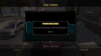 Taxi Service - you cannot purchase a ride to that location
