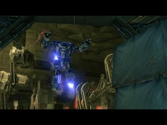 Matt's Back - Mech Suit flying into The Ship