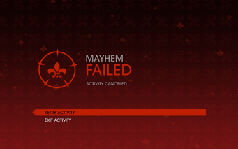 Gat out of Hell - Mayhem fail screen
