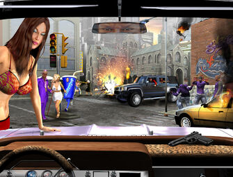 Saints Row - early concept art scene with purple Saints