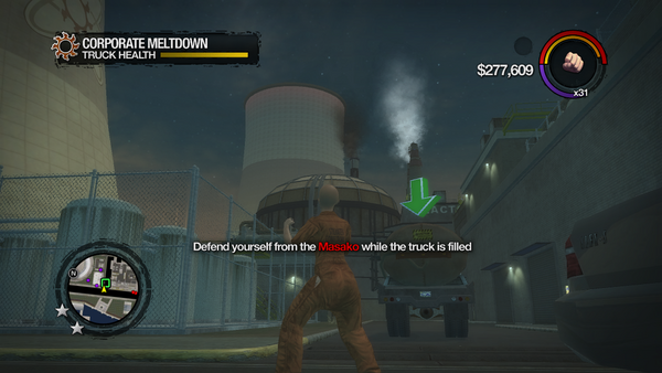Corporate Meltdown - location 1 - Defend yourself from the Masako while the truck is filled