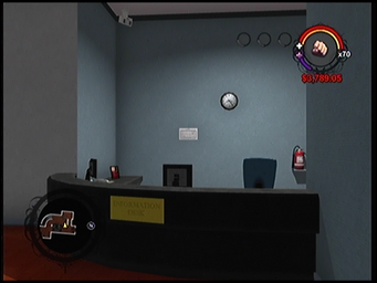 The Information Desk in the lobby of Anthony's condo building in Saints Row